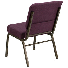 HERCULES Series 21''W Stacking Church Chair in Plum Fabric - Gold Vein Frame