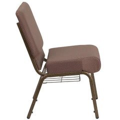 HERCULES Series 21''W Church Chair in Brown Dot Fabric with Book Rack - Gold Vein Frame