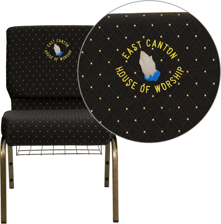Embroidered HERCULES Series 21''W Church Chair in Black Dot Patterned Fabric with Cup Book Rack - Gold Vein Frame