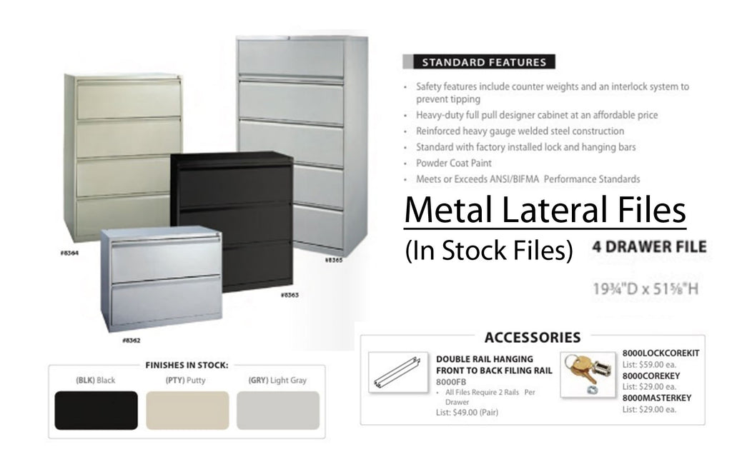 Metal Lateral Files (in stock)  4 Drawer File