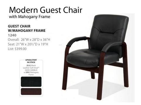 Modern Guest Chair with mahogany frame