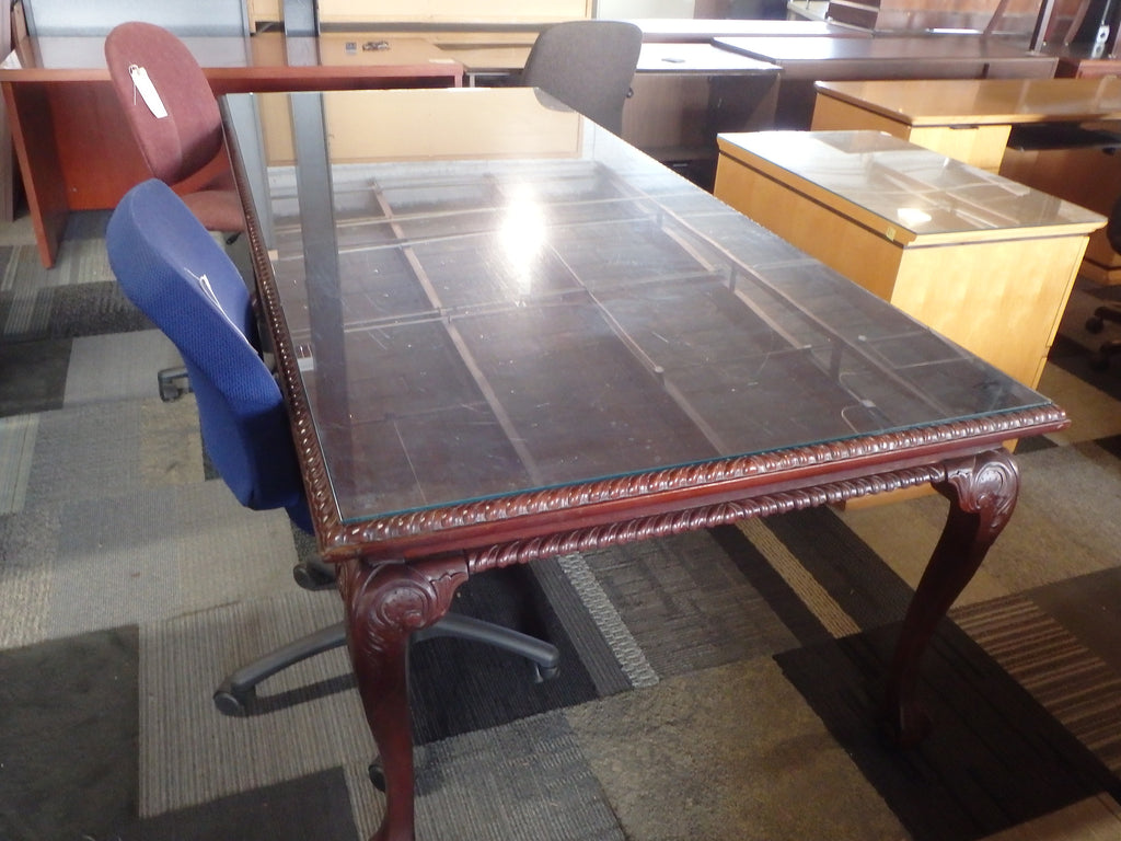 TRADITIONAL 10FT CONFERENCE TABLE WITH GLASS TOP