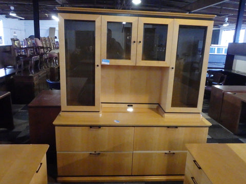 BOW FRONT DESK & CREDENZA AND LATERAL FILES 2 DRAWER AND 4 DRAWER