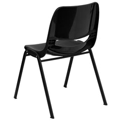 HERCULES Series 661 lb. Capacity Black Ergonomic Shell Stack Chair with Black Frame and 16'' Seat Height