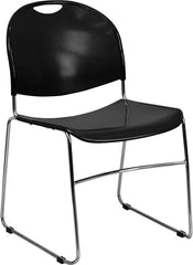 HERCULES Series 880 lb. Capacity Black Ultra Compact Stack Chair with Chrome Frame