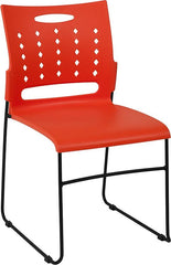 HERCULES Series 881 lb. Capacity Orange Sled Base Stack Chair with Air-Vent Back