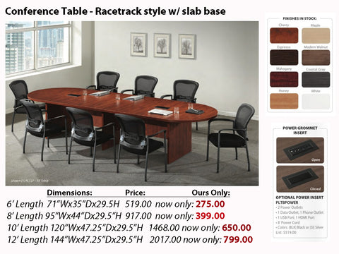 # 1 Conference Table - Racetrack w/ Slab Base