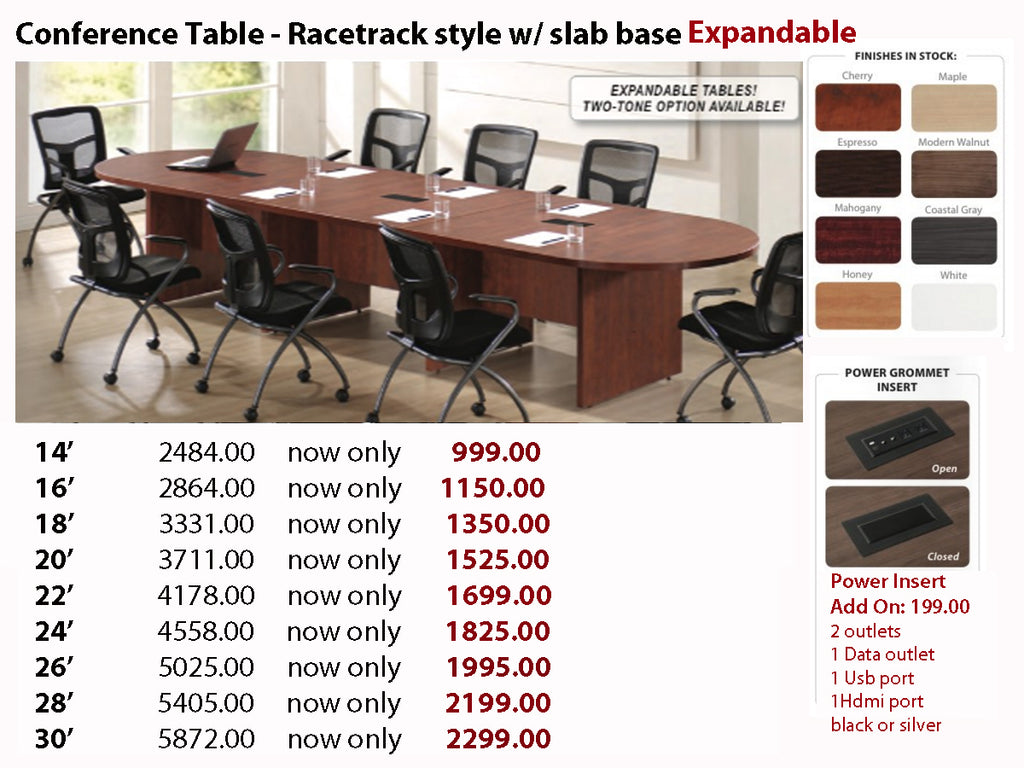 Conference Table Racetrack W Slab Base EXPANDABLE - Expandable conference room table
