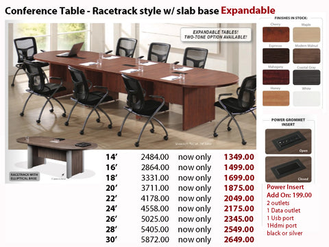 # 4 Conference Table - Racetrack w/ Elliptical Base EXPANDABLE