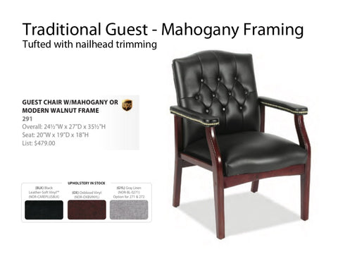 Traditional Guest Chair Tufted with nailtrim