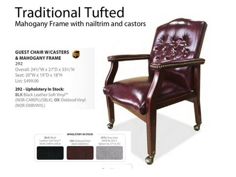 Traditional Guest Chair Tufted with Castors and nailtrim