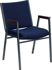 HERCULES Series Heavy Duty Navy Blue Dot Fabric Stack Chair with Arms