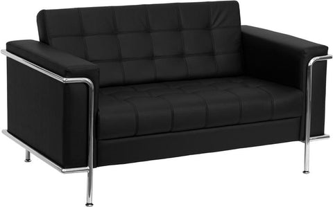 HERCULES Lesley Series Contemporary Black Leather Loveseat with Encasing Frame