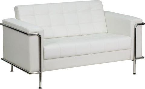 HERCULES Lesley Series Contemporary Melrose White Leather Loveseat with Encasing Frame