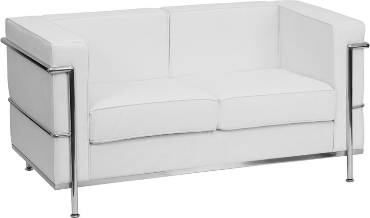 HERCULES Regal Series Contemporary Melrose White Leather Loveseat with Encasing Frame