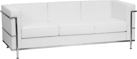 HERCULES Regal Series Contemporary Melrose White Leather Sofa with Encasing Frame