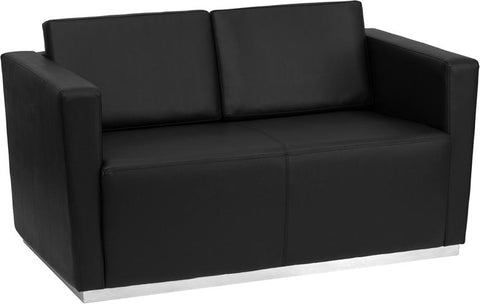 HERCULES Trinity Series Contemporary Black Leather Loveseat with Stainless Steel Base