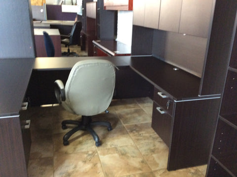 U-SHAPE WORK STATION DESK WITH HUTCH