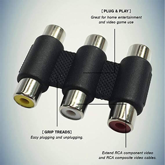 Female RCA to Female RCA Composite A/V Gender Changer Coupler