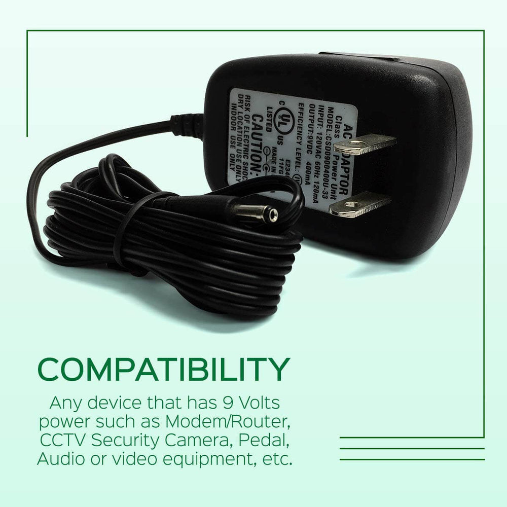 AC Power Supply Adapter 9V Output DC 400mA