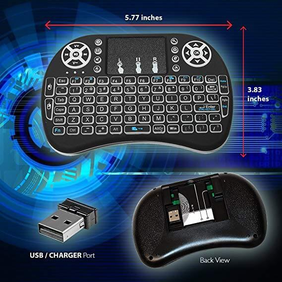 Wireless Keyboard Remote Control Touchpad Mouse Backlit LED Light