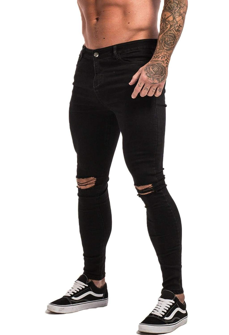 Knee Ripped Spray On Jeans - Black - Maison