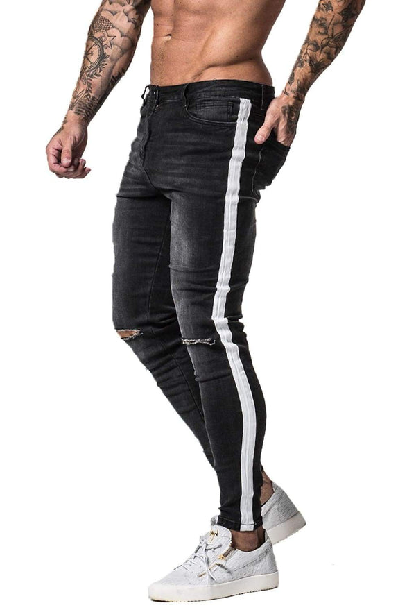 Knee Ripped Spray On Jeans - Dark Grey - Maison