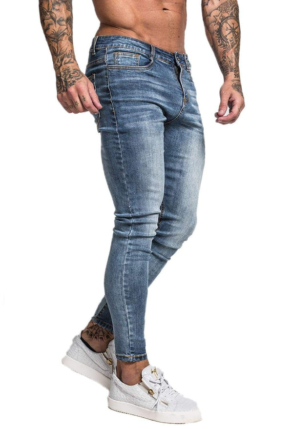 Non Ripped Spray On Jeans - Blue - Maison