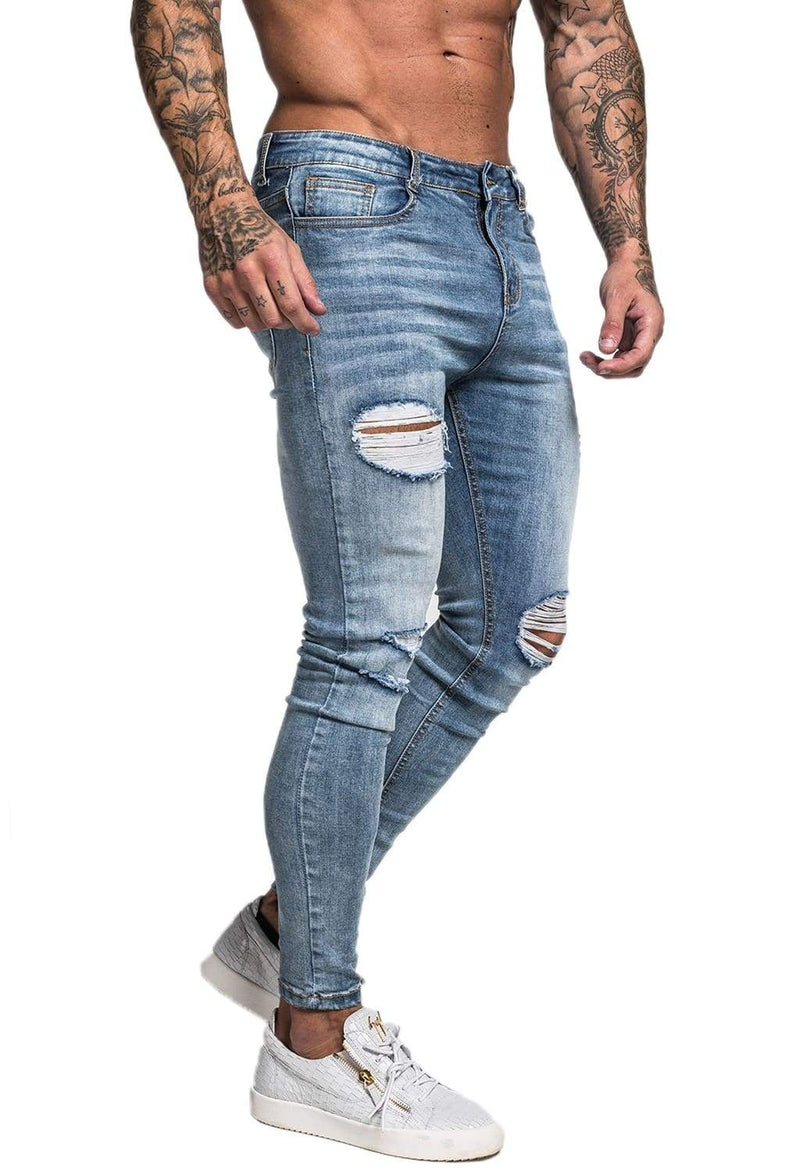 Ripped & Repaired Spray On Jeans - Light Blue - Maison