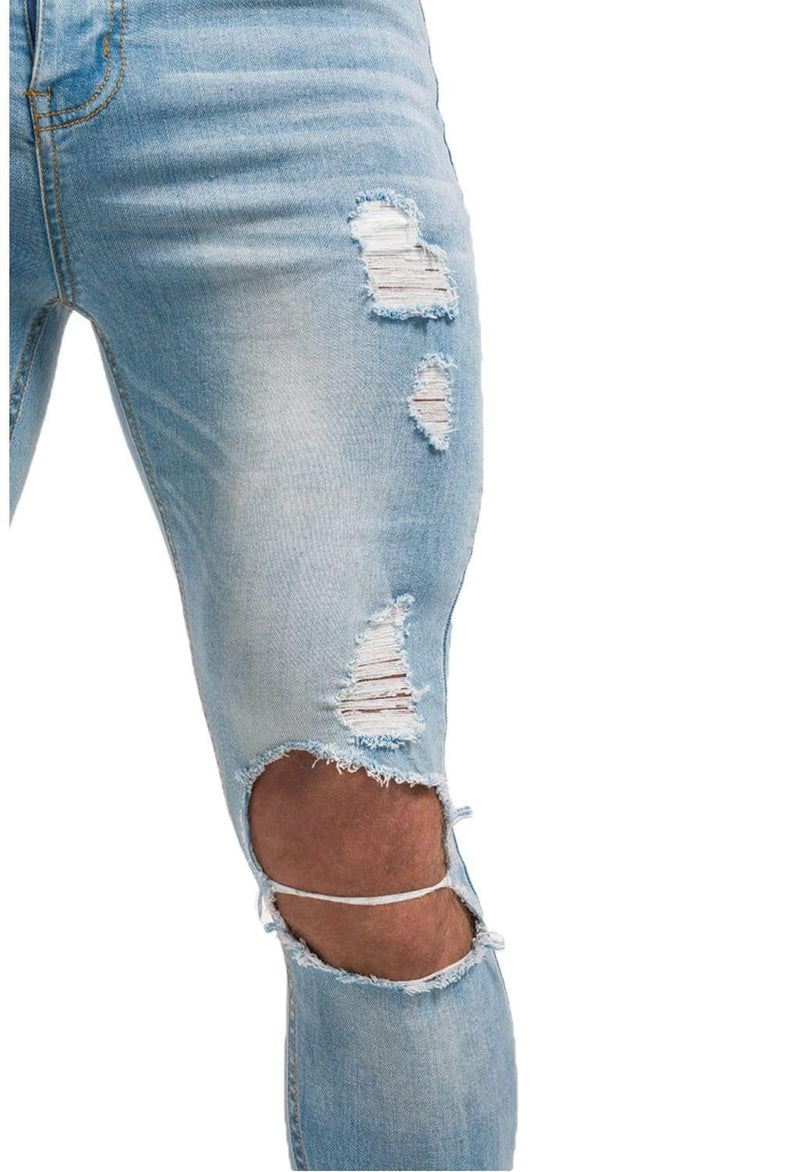Destroyed Spray On Jeans - Light Blue - Maison