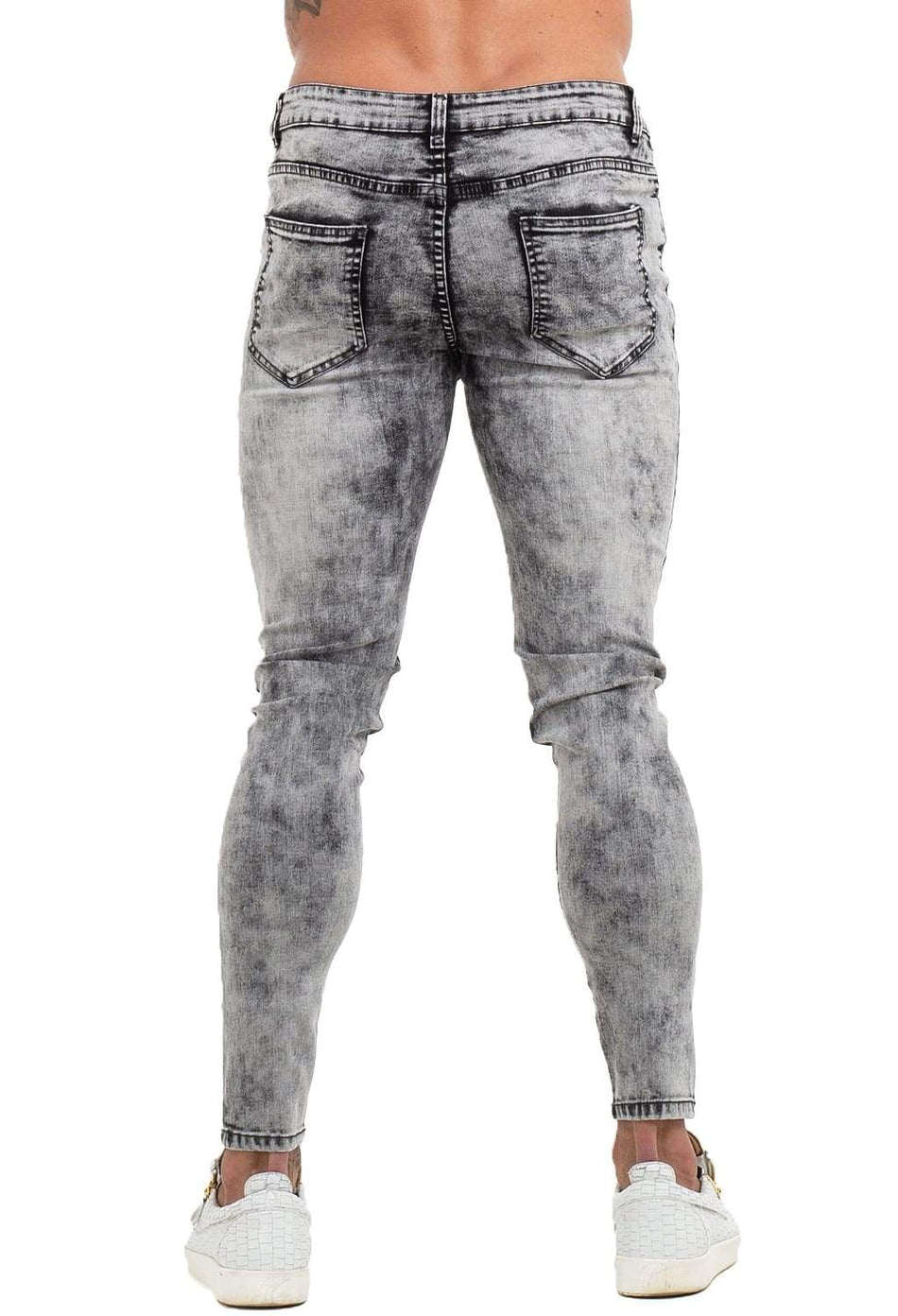 Ripped & Repaired Spray On Jeans - Stone Wash Grey - Maison