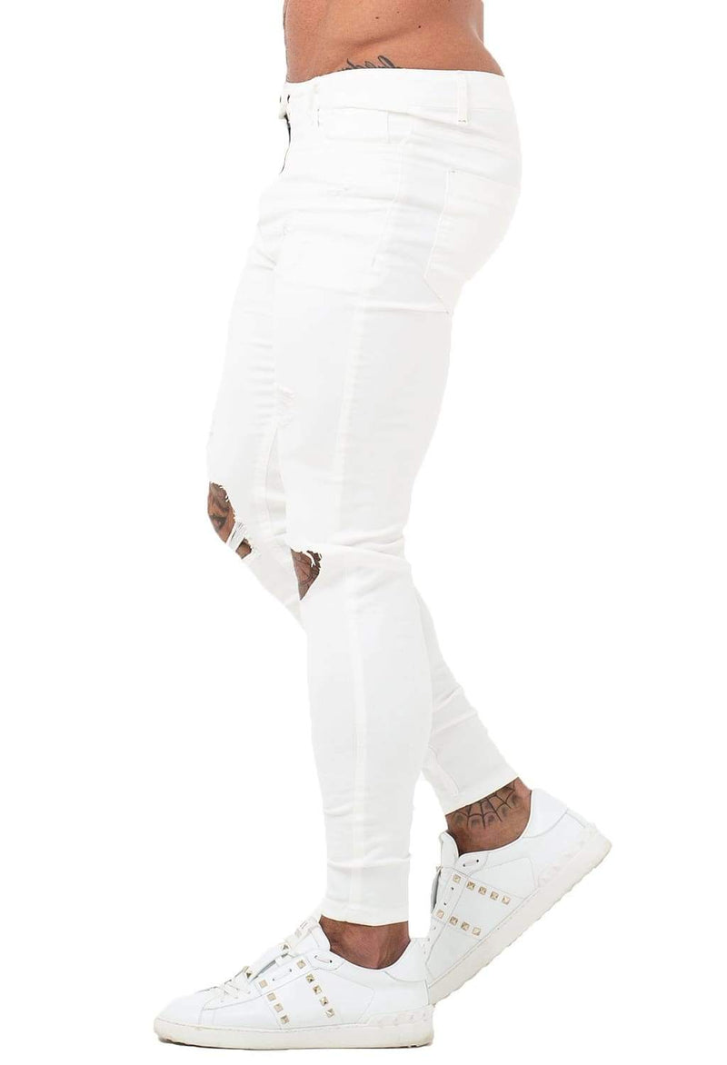 Ripped & Repaired Spray On Jeans - White - Maison