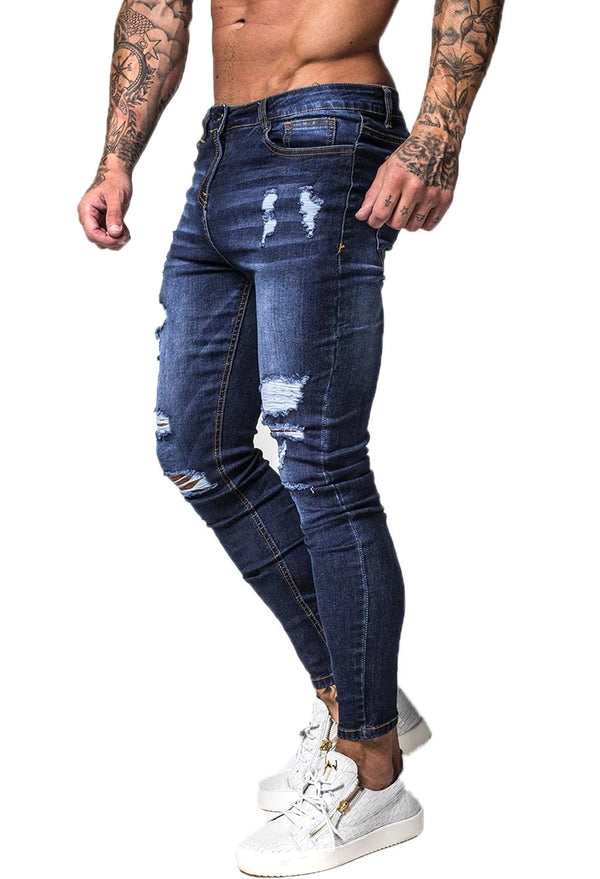 Ripped & Repaired Spray On Jeans - Dark Blue - Maison