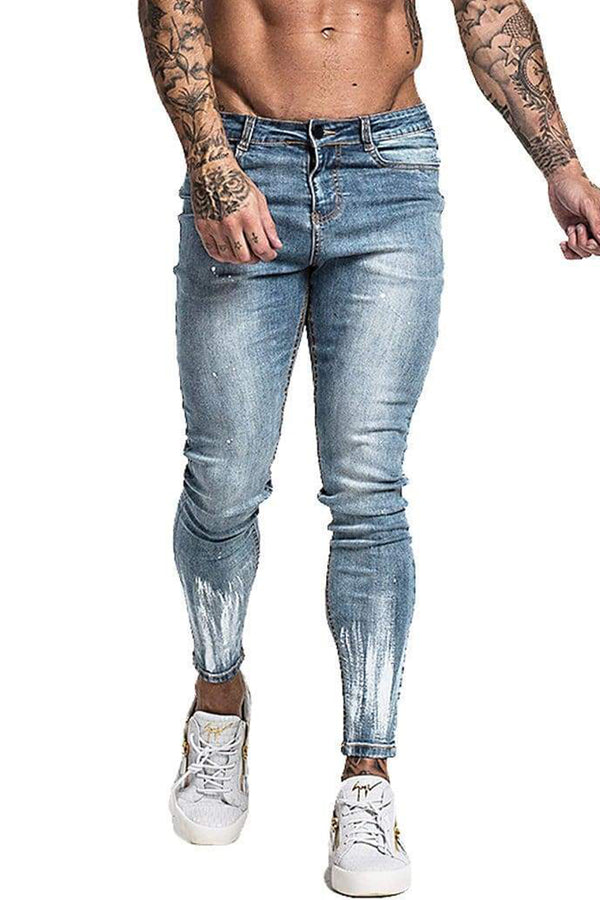 Non Ripped Paint Fade Spray On Jeans - Light Blue - Maison