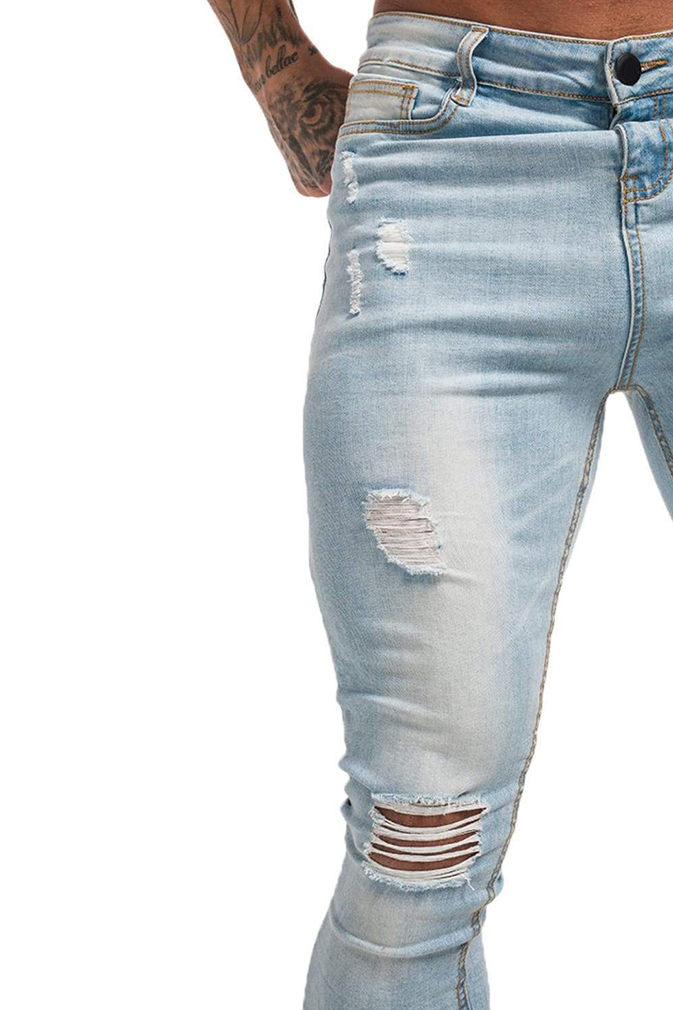 Ripped & Repaired Spray On Jeans - Light Wash - Maison