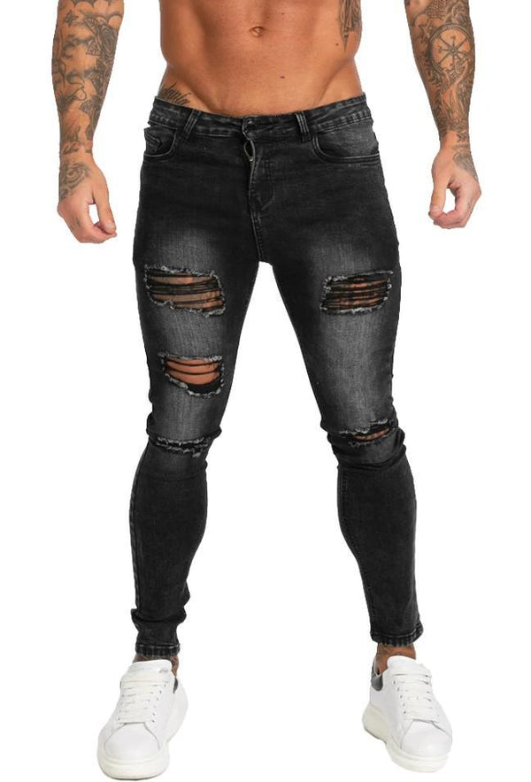 Ripped & Repaired Spray On Jeans - Dark Grey - Maison