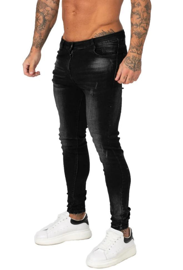 Distressed Spray On Jeans - Dark Wash - Maison