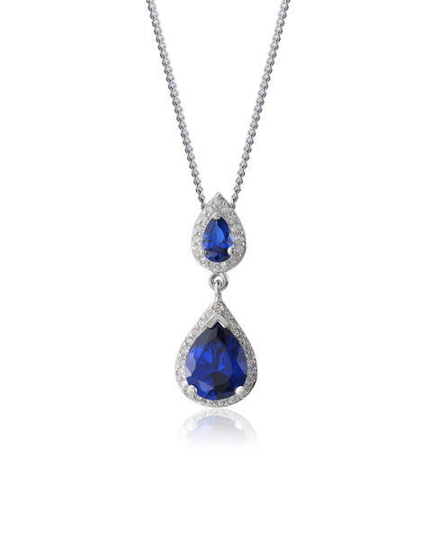 Tears of Joy Blue Sapphire, Double Drop CZ Pendant - Sonia Danielle