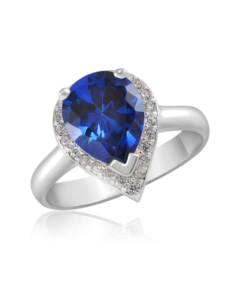Tears of Joy Blue Sapphire, Double Drop CZ Ring - Sonia Danielle