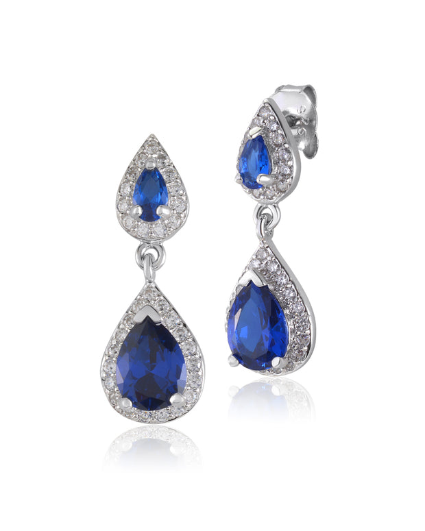 Tears of Joy Blue Sapphire, Double Drop CZ Earrings - Sonia Danielle