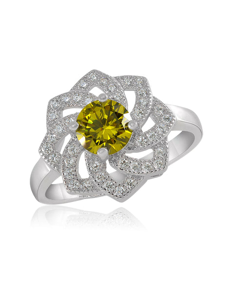 Juliet Flower Green Peridot CZ Ring - Sonia Danielle