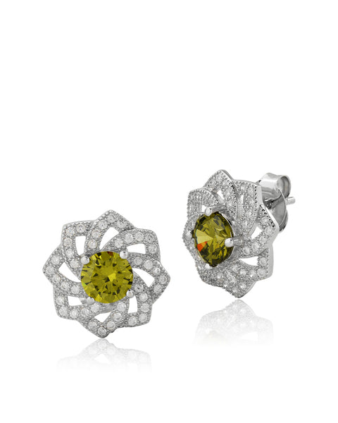 Juliet Flower Green Peridot CZ Earrings - Sonia Danielle