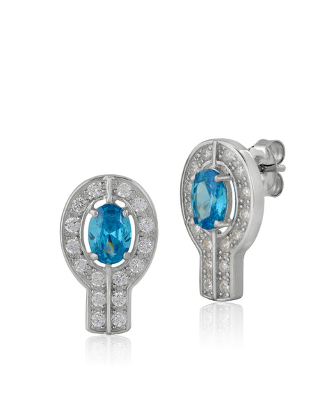Harmony Swiss Blue Topaz CZ Earrings - Sonia Danielle