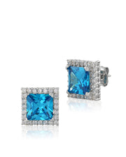 Atlantis Blue CZ Stud Earrings - Sonia Danielle