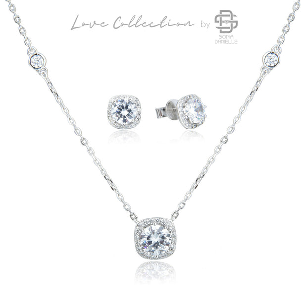Love Collection Plated Earrings and Necklace Set - Sonia Danielle
