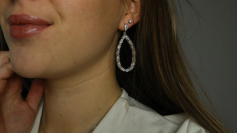 Allure Sterling Silver and CZ Large Tear Drop Earrings - Sonia Danielle