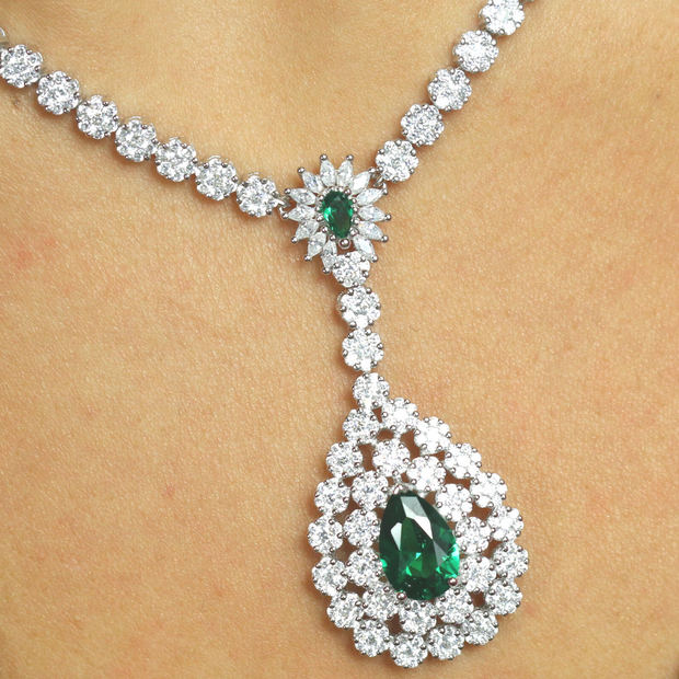 Green Teardrop CZ Necklace - Sonia Danielle