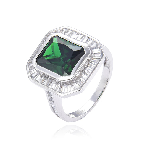 Emerald Green Baguette Ring