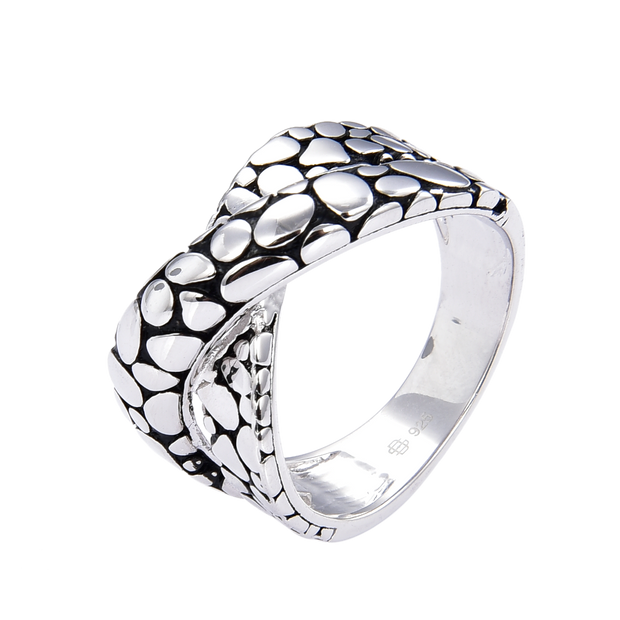 Black and White Pebble Ring