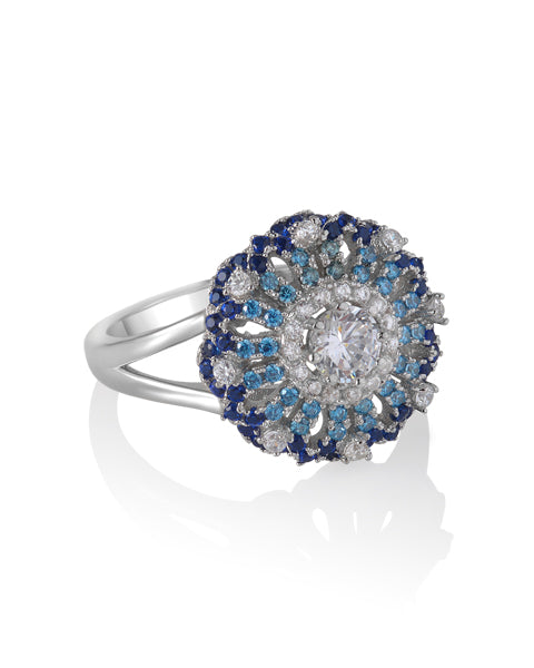 Lace Motif Blue Ring